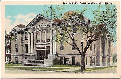First Methodist Church in Arkansas City KS Postcard