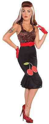 Cherry Anne Retro Rock 40's Pin Up Pinup Fancy Dress Up Halloween Adult Costume - 1950's Pin Up Halloween Costumes