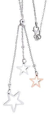 Y Kette Silber 925 mit Sternchen Anhänger Silberkette mit Stern Rotgold Kette