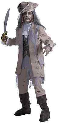 Zombie Pirate Ghost Undead Captain Grey Gray Fancy Dress Halloween Adult Costume](Zombie Ghost Pirate Costume)