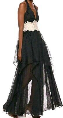 Halston Heritage Halter V Organza Embroidered Waist Gown Dress Size 10 $745