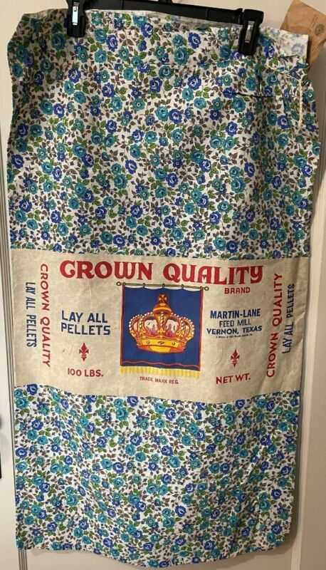 Vintage Large Crown Quality Feed Sack/Feedsack Unopened Bright Floral Vernon TX