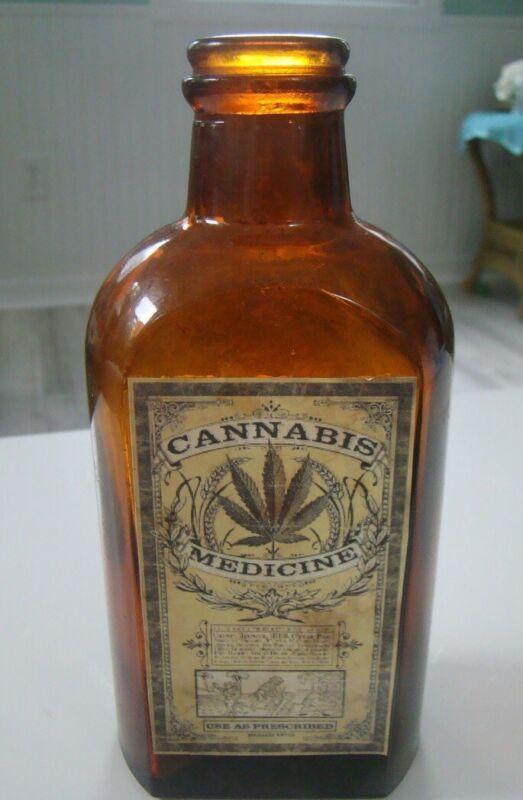 Vintage Use As Described Cannabis Medicine Reproduction Bottle