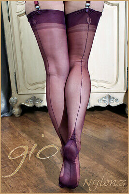 Gio Fully Fashioned Stockings - PLUM - Imperfects - from NYLONZ