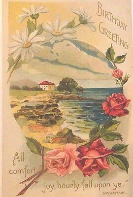 Antique BIRTHDAY Postcard Germany Embossed Shakespeare Flowers Nature Scene Vtg