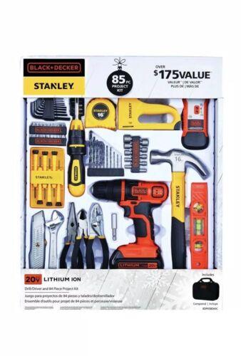 BLACK DECKER Tools 85pc Kit w/ DRILL 20V Project Set & Stanl
