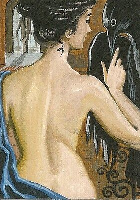 1.5x2 DOLLHOUSE MINIATURE PRINT OF PAINTING RYTA 1:12 SCALE HALLOWEEN NUDE CROW
