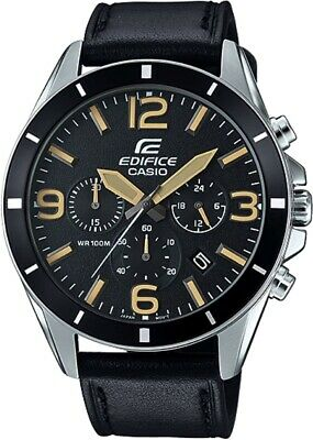 Casio Edifice Men's Quartz Black Leather Strap 45mm Watch EFR-553L-1BV