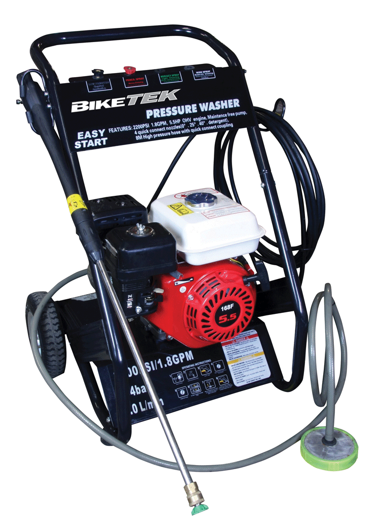 BIKETEK Remote Power Pressure Washer 4 Stroke Motorcycles/Motocross/Motorhomes