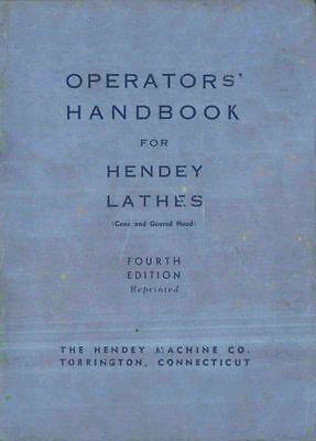 Hendey Geared Coned Head Lathe Operators Handbook Manual Pdf Format