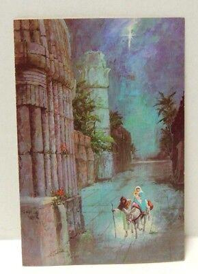 Vintage Christmas Card Mary & Joseph Baby Jesus by Embassy   Mid-Century  Unused