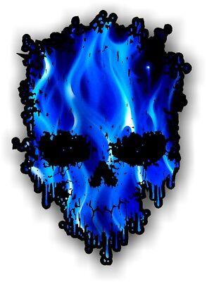 Goteo De Motociclista Calavera & Azul Eléctrico Llamas Motivo Vinilo Coche Moto