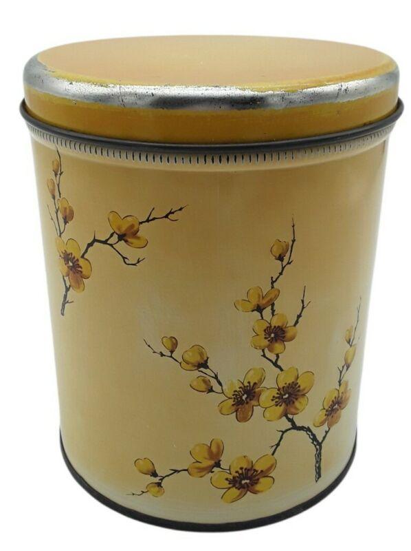 Vintage Decoware Tin Metal Canister Orange Yellow Flowers Lid Kitchen Decor USA