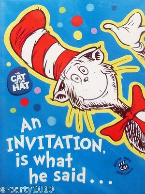 DR. SEUSS CAT IN THE HAT INVITATIONS (8) ~ Invites Cards Birthday Party Supplies (Cat In The Hat Invitations)