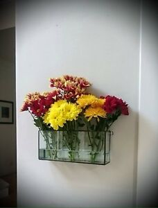 House gift/Handmade Glass Wall Vase /,Wall Flower Display/airplant holder