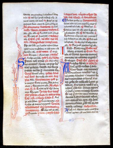 ILLUMINATED MANUSCRIPT MEDIEVAL BREVIARY LEAF c1300 MARK PRAYER HOMILY INITIALS