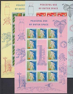 Ghana 1962 ** Mi.310/12 A Klbg. Weltraum Space Espace Luna 10 Orbiter Astronaut