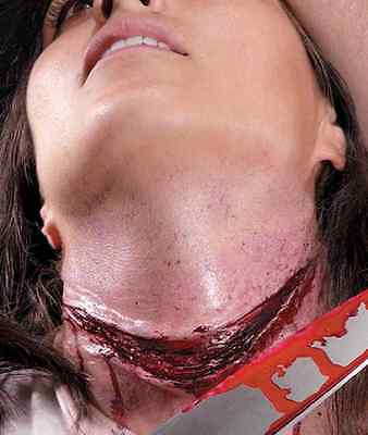Gurgle Slit Throat Cut Wound Dress Up Halloween Costume Makeup Latex Prosthetic