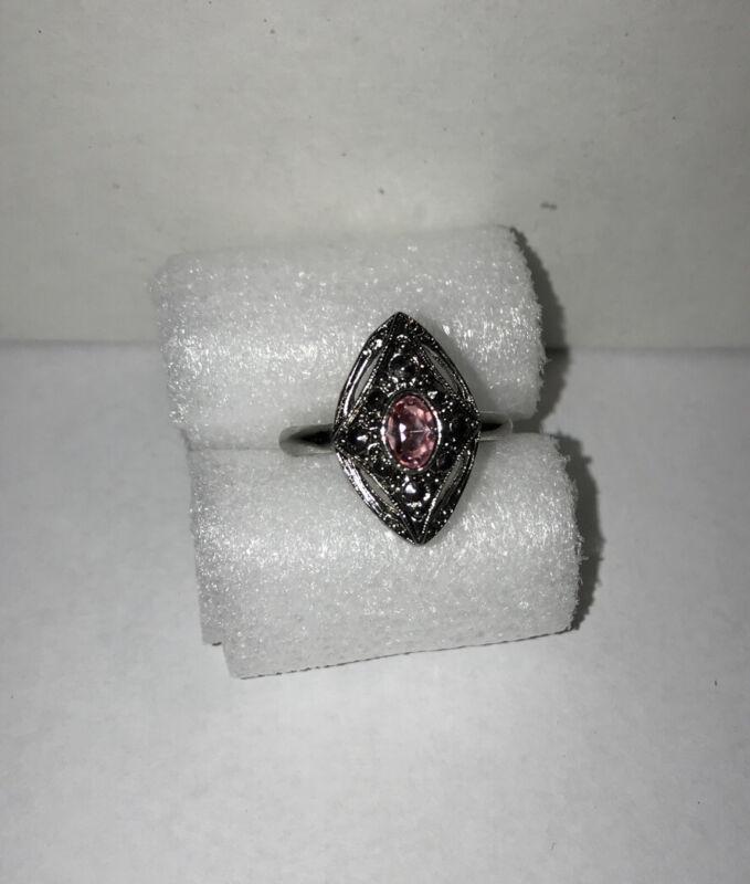 Vintage Avon Ring Pink Sapphire Rhinestone Marcasite Silvertone Size 6.5 NM