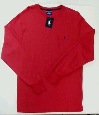 Polo Ralph Lauren Men's Waffle Knit Pajama Lounge Shirt Medium Red Navy Blue New