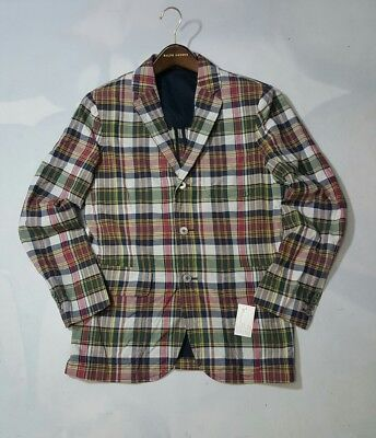 ( Ralph Lauren GRAFTON Patchwork Madras Plaid Sport-Coat Blazer SZ:40R)
