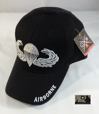 US Army Airborne Ball Cap Ranger 82nd 173rd 101st Paratrooper Jump Wings Hat BLK