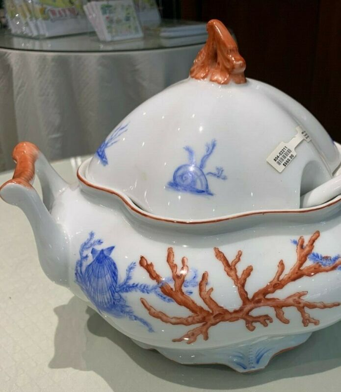 White & Blue with Coral TrimLarge Tureen with Ladle