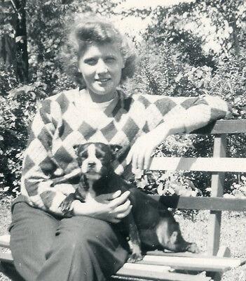 VINTAGE BOSTON TERRIER PARK BENCH SMILE DOG WOMANS BEST FRIEND FUN LOVE