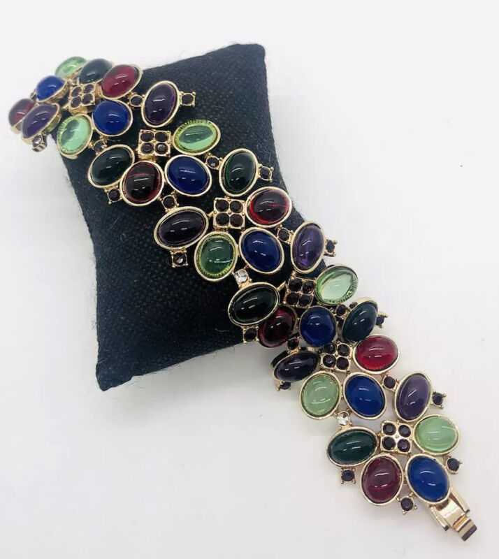Jewel Toned Cabochon Bracelet Rhinestones 1 1/2 inches Wide Vintage Jewelry