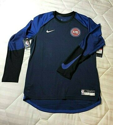 $120 NIKE PLAYER TEAM ISSUE 2019 DETROIT PISTONS LS PREGAME DRILL TOP -