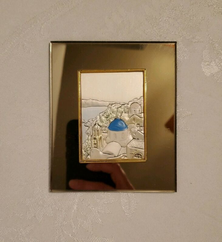 Greece blue roof Travel Souvenir mirror Sterling silver stamped relief picture