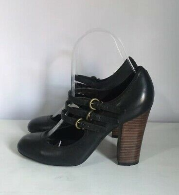 NEXT Black Leather Mary Jane Shoes Block Heel ~UK 4~ Triple Strap Vintage Style  Triple Strap Mary Jane