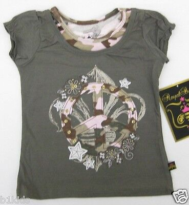 6 Graphic Designs - Girls Top Graphic T-Shirt Peace Sign Camouflage Design Top Kids Girl 4 5 6 6X