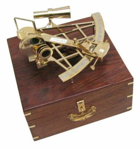 """Large Brass Sextant 10"""" w/ Wooden Case Nautical Maritime Astrolabe Ship Decor"""