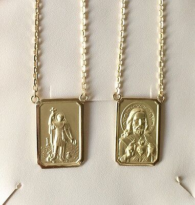 18k Gold Scapular Saint Expedict with heart of Jesus Large Medal 8,3gr