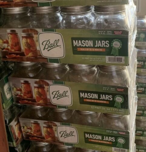 BALL Mason Jars with Lid Regular Mouth 16 oz - Case of 12 -