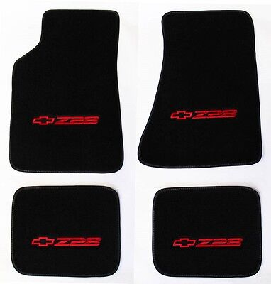 NEW! Carpet Floor Mats 1982-2002 Camaro Z28 Embroidered Logo in Red on All 4 pc - Red Floor