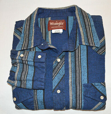 (VTG Wrangler Men's Western Pearl Snap Shirt XL Blue Gray Twill Striped Flannel)