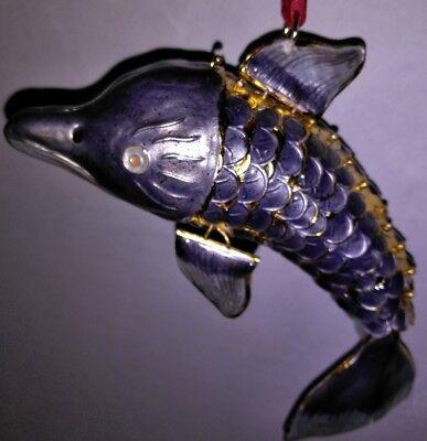 Dillards Trimmings Exclusive Gray Metal DOLPHIN Ornament Sea Life Nautical Flexi