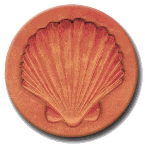 """RYCRAFT 2"""" Round Cookie Stamp with Handle & Recipe Booklet--SEASHELL"""