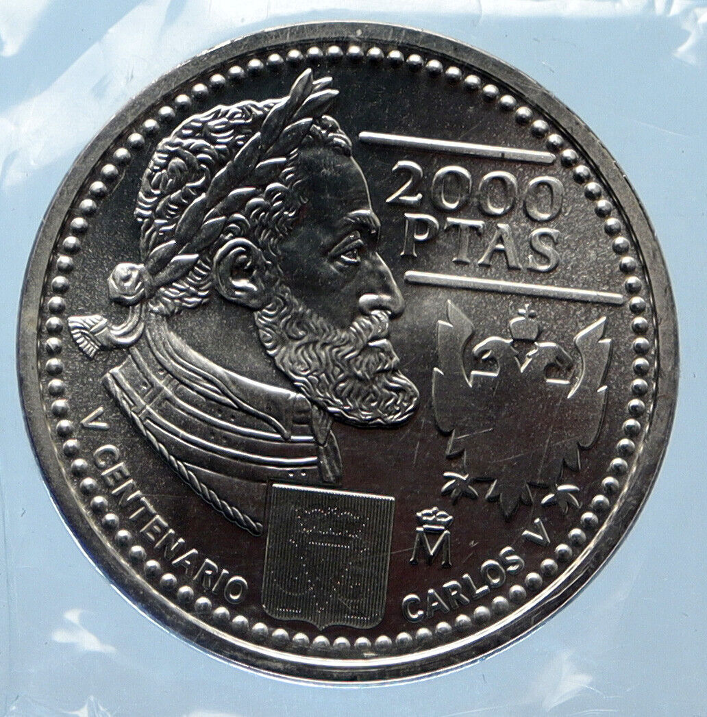 2000 SPAIN King JUAN CARLOS I CHARLES V Old Silver 2000 Pesetas Coin I95669 - $497.00