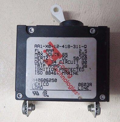 CARLING TECHNOLOGIES 2.5 AMP 65/250 Volt MARINE SINGLE CIRCUIT BREAKER *OEM*