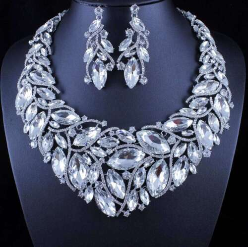 SEXY LEAVES AUSTRIAN RHINESTONE NECKLACE EARRINGS SET PAGEANT PROM N11905 SILVER