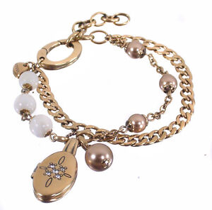 New-FOSSIL-Brand-Gold-Crystal-Locket-Charm-Bracelet-Jewellery-NWT