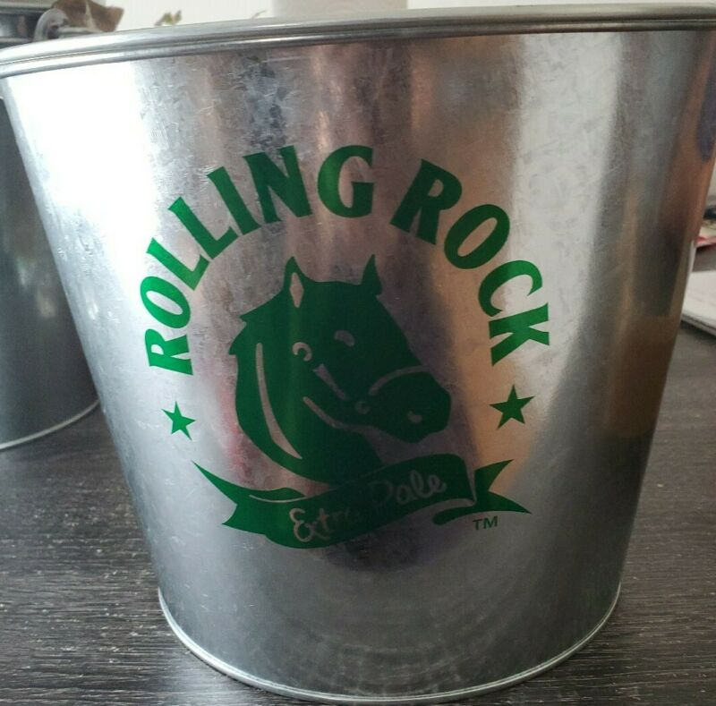 Lot of 4 Rolling Rock Beer Extra Pale Buckets 7.25x9.5""