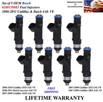 Set of 8 OEM Bosch Fuel Injectors For 2006-2011 Cadillac & Buick 4.6L V8