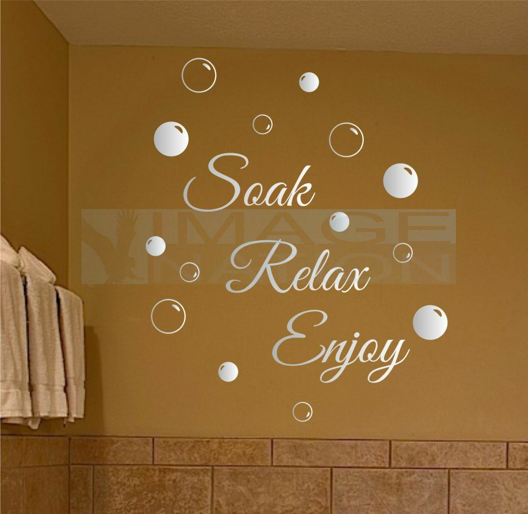 Home Decoration - Soak Relax Enjoy Wall Stickers & Bubbles Decals Bathroom Home Art Decor