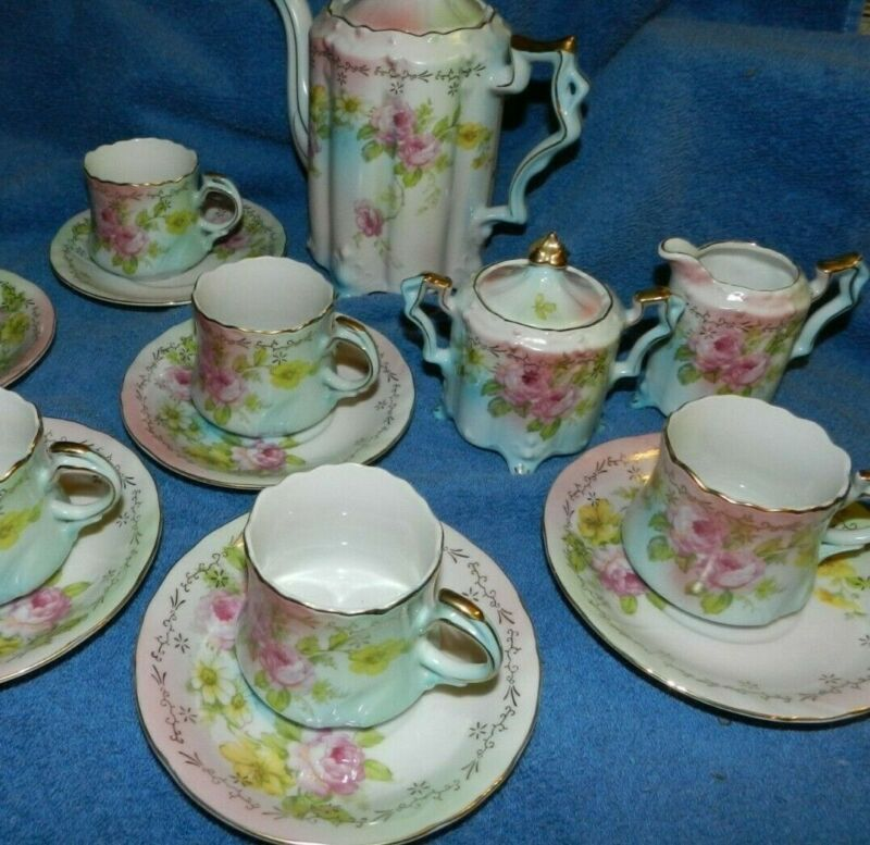 Reproduction of RS SuhL Floral Teapot & sugar bowl w/ lid Creamer 5 cups/saucers