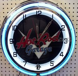 18 Classic HOT ROD Garage Sign Double Neon Clock