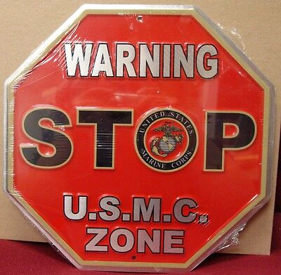 """UNITED STATES MARINES CORPS WARNING STOP U.S.M.C. ZONE 11.5"""" EMBOSSED METAL SIGN"""